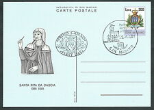 1981 SAN MARINO FDC CARTOLINA POSTALE SANTA RITA DA CASCIA