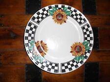 Sunny Brand Tabletops Unlimited Sunflower Black/White Checkered Dinner Plate