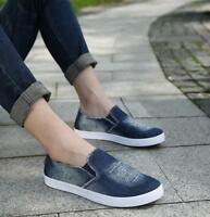 Men's New Denim Canvas Shoes Casual Flat Slip On Loafers Sports Driving Shoes