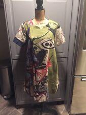 SYSF Thc Art Green Colorful Top Short Dress Long Top Short Sleeve Womens Size XL