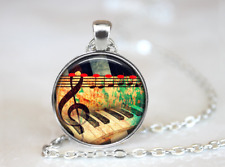 music Piano Keyboard Piano Music Note Tibet silver pendant chain Necklace