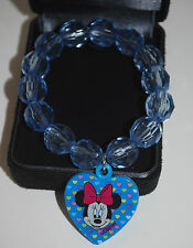 Disney Minnie Mouse Charm Bracelet GIRLS Faceted Bead JEWELRY BIRTHDAY Blue NEW