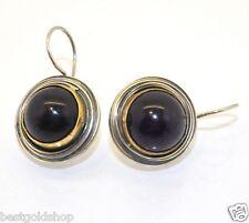 Polished Round Purple Amethyst Gemstone Drop Earrings Sterling Silver 925 13.8gr