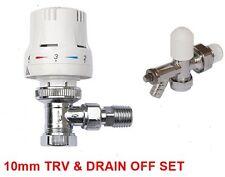"Thermostatic Radiator Valve Set TRV + Lockshield Drain Off Valve 10mm x 1/2"""