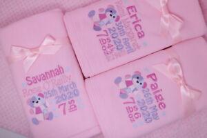 Personalised fleece baby blanket patchwork bear birth block design date weight
