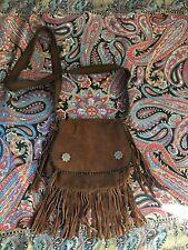 Brown Suede Cross Body Bag Tassles Fringed Hippie Western Boho 70s 90s Style