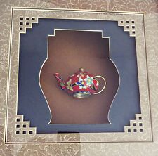 Cloisonne Enamel Chinese Red White Floral Mini Teapot in Shadow Box Framed