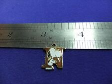 vtg snoopy pendant charm letter initial N brown 1970s peanuts schulz cartoon  #