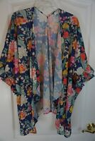 Umgee Kimono Cardigan Topper Boho Ruffle Sleeves Blue Pink Floral Size M