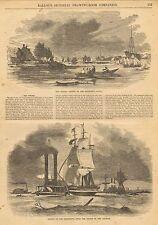 New Orleans Louisiana, The Belize, Mississippi River, Vintage 1856 Antique Print