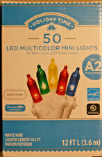 50 Count  Multi Color LED Mini Christmas Lights on White Wire
