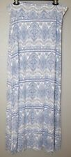 Charlotte Russe Blue White & Pink Floral Foldover Waist Maxi Skirt Size XL EUC!