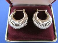 Vintage 14k Solid Yellow Gold Puff Hoop Earrings Small Delicate