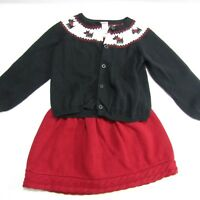 Gymboree Girls Size 4 4T Sweater Cardigan Skirt Red Black Scottie Dog