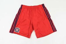 Adidas Mens Medium Spell Out Striped MLS Chicago Fire Lined Soccer Shorts Red