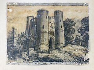 Antique Sketch Saltwood Castle England  Milton 1800s  Restore Johnny Appleseed