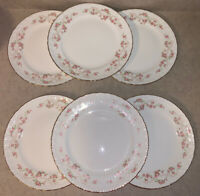 "VTG Pope Gosser China FLORENCE 9 3/4"" Dinner Plates Pink Rose Garland w/Gold (6)"