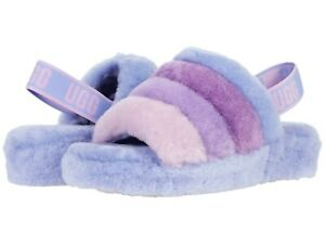Women's Shoes UGG FLUFF YEAH SLIDE Sheepskin Slippers 1097169 CORNFLOWER MULTI