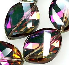 18x25mm Faceted Red Crystal Quartz Flat Oval Loose Beads 10pcs