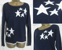 New Next Womens Star Print Jumper Top Sweater Navy Ivory Xmas Soft Size 6-22