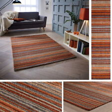 160cm X 230cm Carter 100 Wool Household Rust Colour Striped Pattern Rug