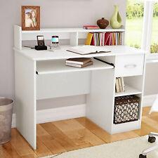 UK Computer Desk with Drawers Storage Shelf Keyboard Tray Laptop Table White
