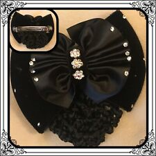 Women Crystal Bow Hairnet Barrette Bowknot Hair Clip Bun Cover Snood Net New