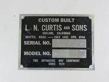 Vintage L.N. Curtis & Sons Fire Truck Engine Emblem Badge Script Trim Apparatus