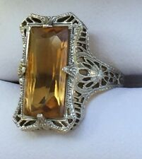 Gorgeous 14K White Gold Filigree Citrine Stone Ring Size 4.5