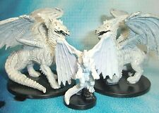Dungeons & Dragons Miniatures Lot  Large White Dragon Small White Dragon !! s112