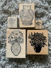 Vintage 1990s Rubber Stamps Lot Of 5 Flower Stamps Wood Rubber Stamps