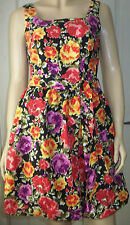 DOROTHY PERKINS Multi Colour Floral Puffball Sleeveless Belted Dress Size 10