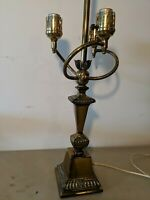 "Vintage 31"" HOLLYWOOD REGENCY BRASS BASE 3 ARM GLASS TABLE LAMP"