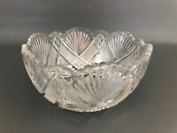 Antique Bryce, Higbee & Co. clear pressed glass salad bowl COARSE ZIG ZAG c.1905