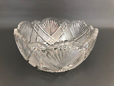 Antique Bryce, Higbee & Co. clear pressed glass salad bowl COARSE ZIG ZAG c.1905