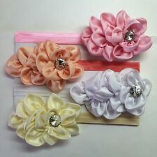 Cute! 4 Pcs Set Baby Girl Elastic Headband Satin Flower Hair Bow.