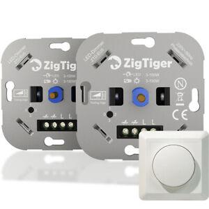 Zigtiger 2PCS Dimmer Schalter Drehdimmer Phasenabschnitt für LED Halogen 3–150 W