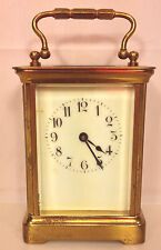 Antique French Carriage Clock with Porcelain Face w/ Key Running