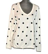 Tommy Hilfiger V-neck Knit Sweater Large Womens Soft Cotton Polka Dot Pullover