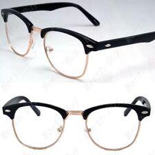 New Mens Womens Designer Fashion Clear Lens Black Gold Frame Glasses Horn Rim