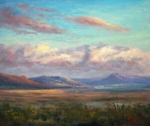 Original oil painting Australian landscape Clouds on Lake George at sunset
