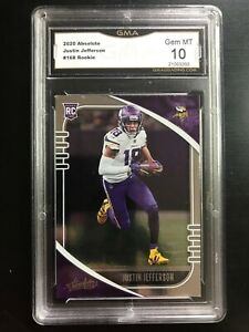 2020 Absolute Football Justin Jefferson Rookie #168 GMA 10 Gem Mint VIKINGS RC