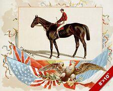 INTERNATIONAL FLAGS HORSE JOCKEY RACE RACING ART PAINTING REAL CANVAS PRINT