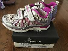 NEW GEOX Girl Noemi Silver Purple Toddler Kids Breathable Sneaker Shoes 10.5