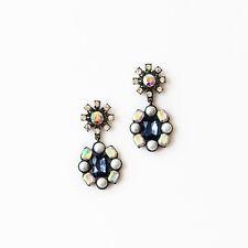 E871 Betsey Johnson Vintage Blue Sapphire Gemstone Flower Shape Drop Earrings UK