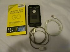 Apple Iphone 5 bundle Otter box tempered glass screen protector 2 charging cable