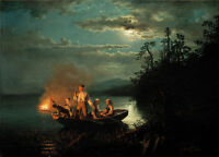 Oil painting Fishermen Hans Gude and Adolph Tidemand moonlit night scenery art