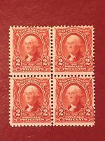 US SCOTT Cat # 301 MNH OG 2c Block of 4 WASHINGTON Stamps CV $140 Fine FREE S&H