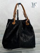 Italiano Bolso Shopper Bolso mujer Piel de serpiente piel auténtica negro 603S