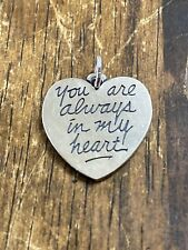 James Avery Sterling Silver 925 You Are Always In My Heart Charm / Pendant $ .01